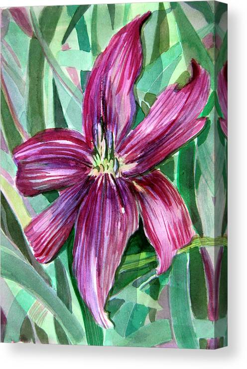 Day Lily Canvas Print featuring the painting Pink Day Lily by Mindy Newman