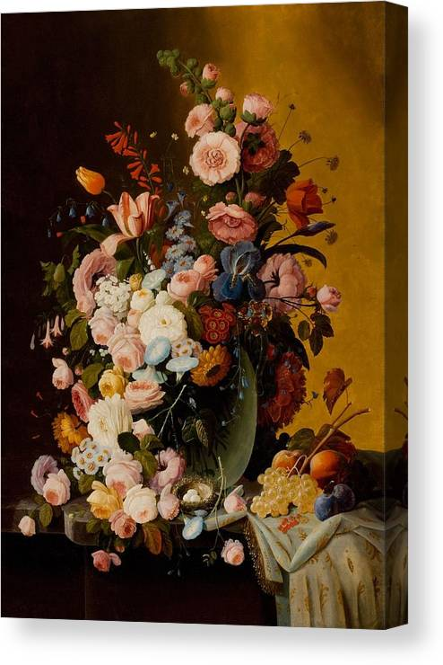 Flowers In A Glass Pitcher With Bird's Nest And Fruit Canvas Print featuring the painting Flowers In A Glass Pitcher by MotionAge Designs