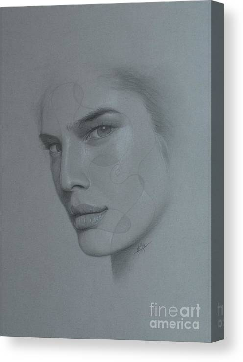 Face Canvas Print featuring the drawing No Title by Marek Halko