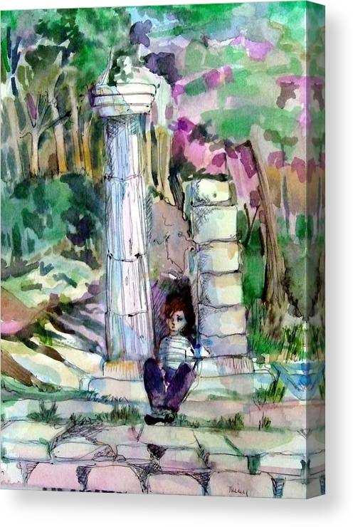 Watercolor Canvas Print featuring the painting A Man In Ruins by Mindy Newman