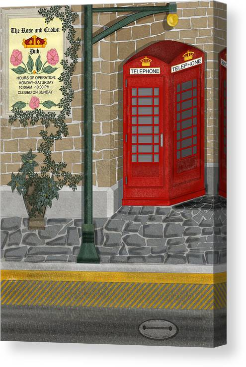 Cityscape Canvas Print featuring the painting A Merry Old Corner In London by Anne Norskog