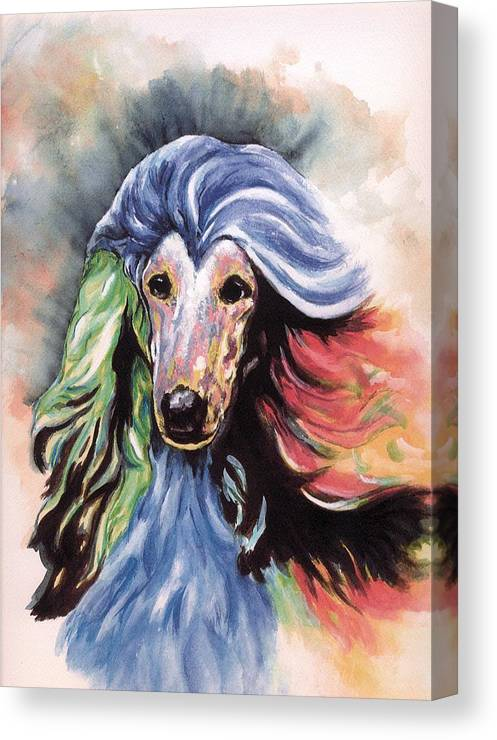 Afghan Hound Canvas Print featuring the painting Afghan Storm by Kathleen Sepulveda