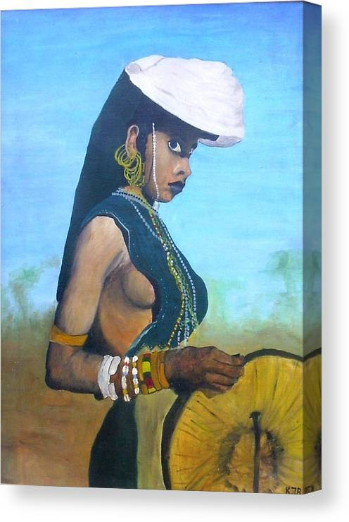 Oil On Canvas Canvas Print featuring the painting African Woman by KlausJuergen Rach