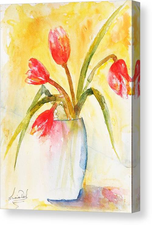 Watercolour Canvas Print featuring the painting Almost Gone by Lucia Del