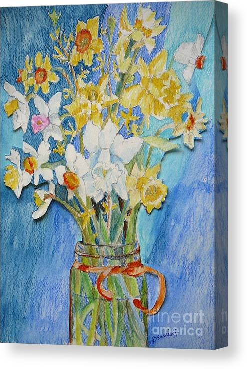 Flowers Canvas Print featuring the painting Angels Flowers by Jan Bennicoff
