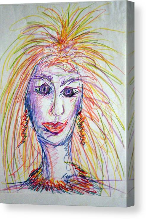 Self Portrait Canvas Print featuring the drawing At Wits End by Tammera Malicki-Wong
