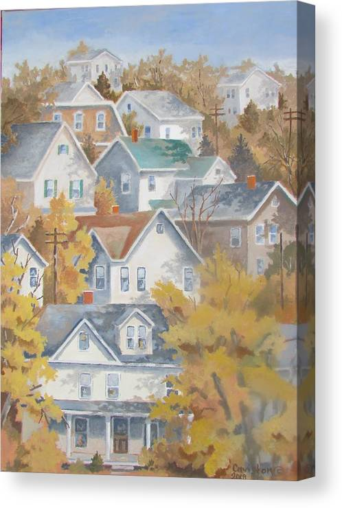 Pennsylvania Houses On Hill Canvas Print featuring the painting Autumn On The Hill by Tony Caviston