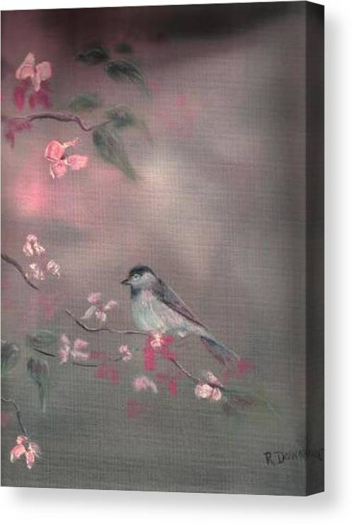 Birds Flowers Nature Wildlife Pets Canvas Print featuring the painting Bird Study by Raymond Doward