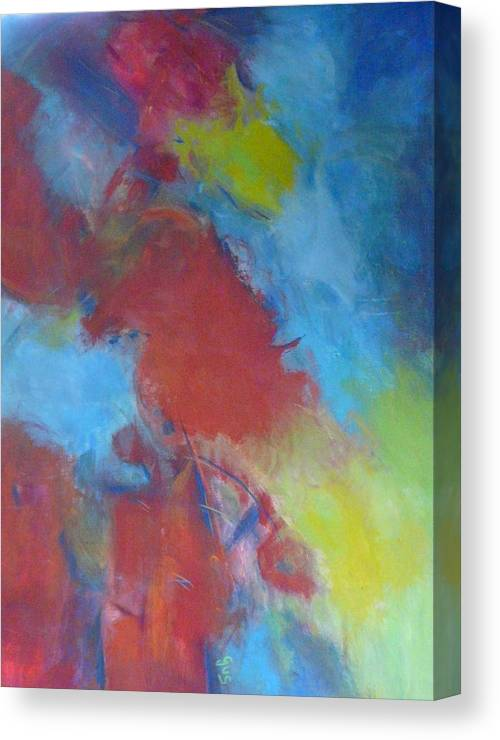 Red Canvas Print featuring the painting Blue Abstract by Gloria Smith