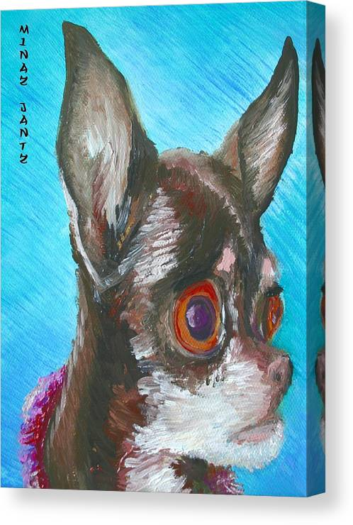 Dog Canvas Print featuring the painting Chili Chihuahua by Minaz Jantz