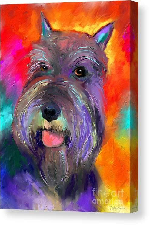 Schnauzer Dog Canvas Print featuring the painting Colorful Schnauzer Dog Portrait Print by Svetlana Novikova