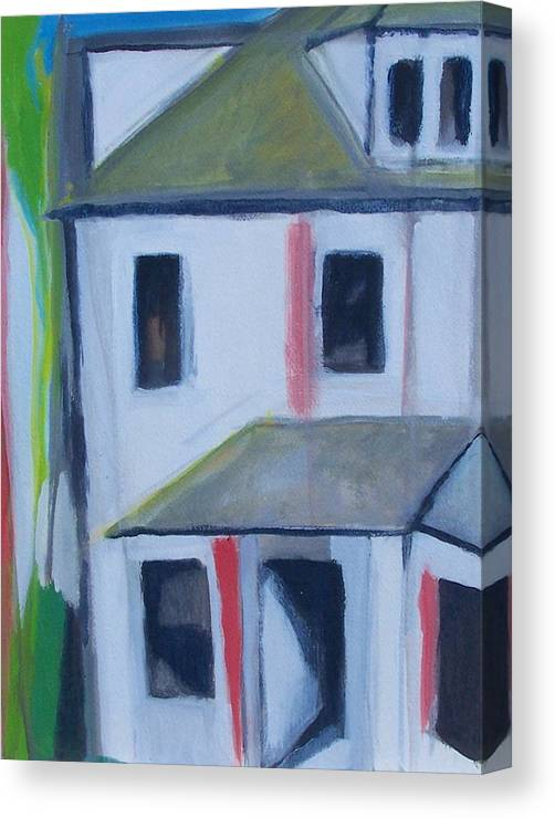 Landscape Canvas Print featuring the painting Corner House On Staten Island by Ron Erickson