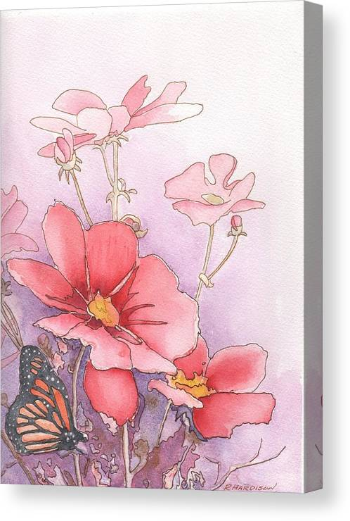 Cosmos Canvas Print featuring the painting Cosmos And Monarch by Robynne Hardison
