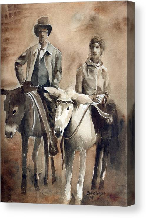 Donkey Canvas Print featuring the painting Donkey Ride by Arline Wagner
