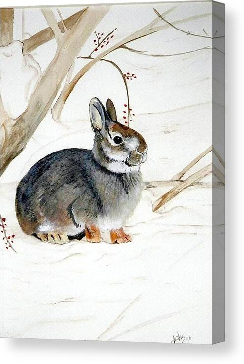 Rabbit Canvas Print featuring the painting Early Snow by Debra Sandstrom