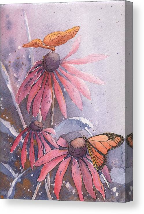 Flower Canvas Print featuring the painting Echinacea And Butterflies by Robynne Hardison
