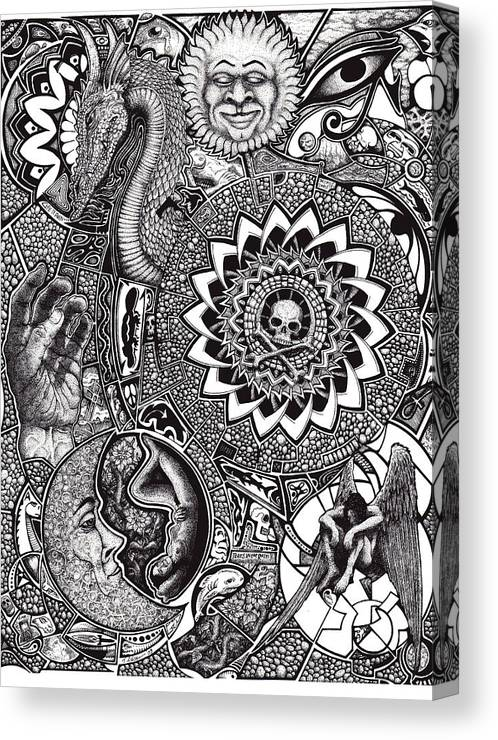 Black And White Canvas Print featuring the drawing Epiphany by Tobey Anderson