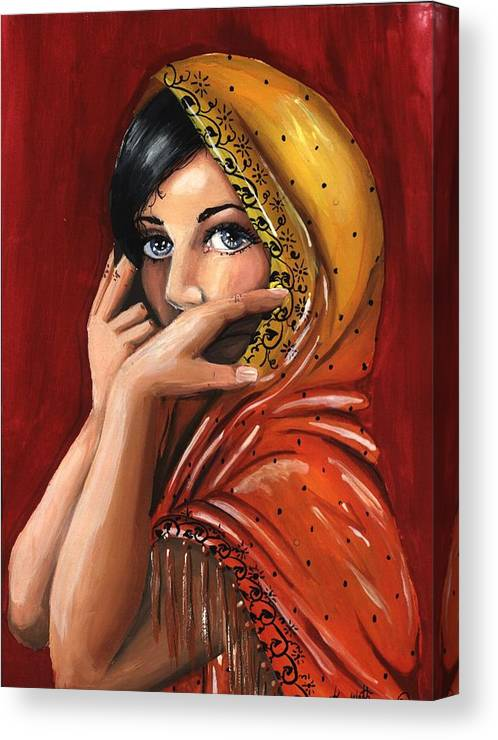 Warm Colors Canvas Print featuring the painting Eyes by Scarlett Royal