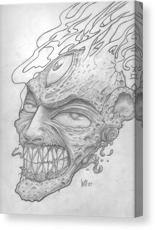 Zombie Canvas Print featuring the drawing Flamehead by Will Le Beouf