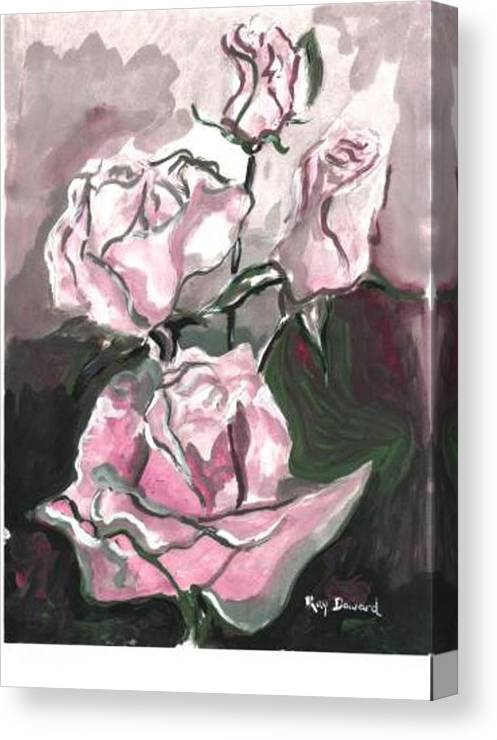 Abstract Flowers Nature Landscape Roses Canvas Print featuring the painting Flower Abstract by Raymond Doward