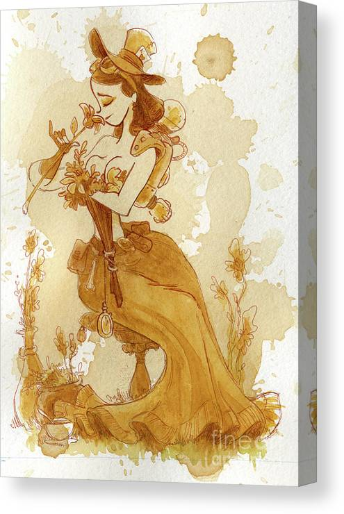 Steampunk Canvas Print featuring the painting Flower Girl by Brian Kesinger