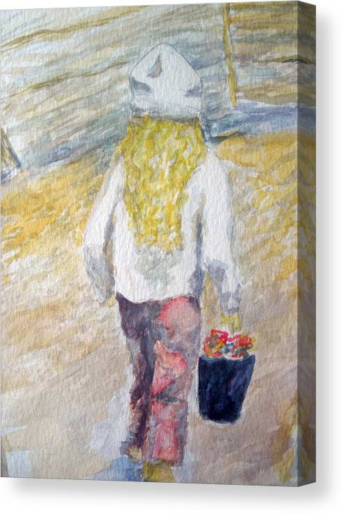 Watercolors Canvas Print featuring the painting Flower Girl by Mike Segura