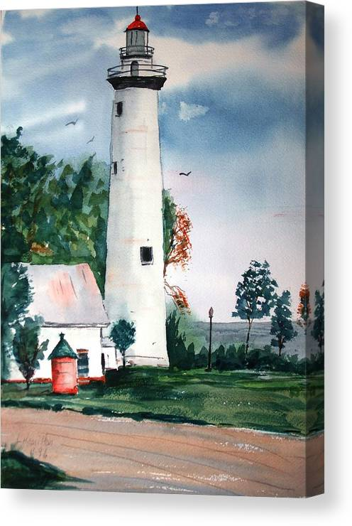 Watercolor Canvas Print featuring the painting Fort Gratiot Lighthouse Michigan by Larry Hamilton