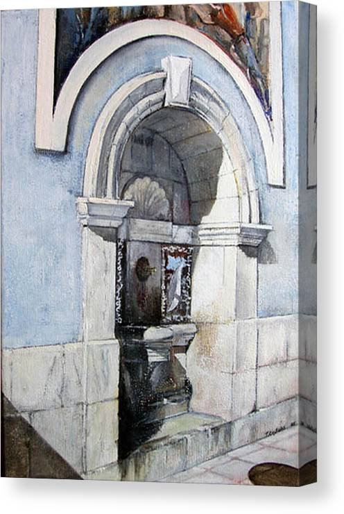 Fuente Canvas Print featuring the painting Fuente Castro Urdiales by Tomas Castano