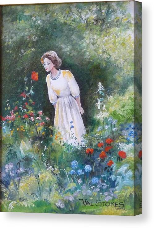 Garden Canvas Print featuring the painting Garden Walk A by Val Stokes