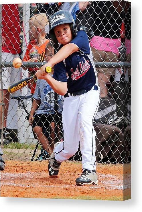 Little Slugger Canvas Print featuring the photograph Home Run In The Making by Denise Mazzocco