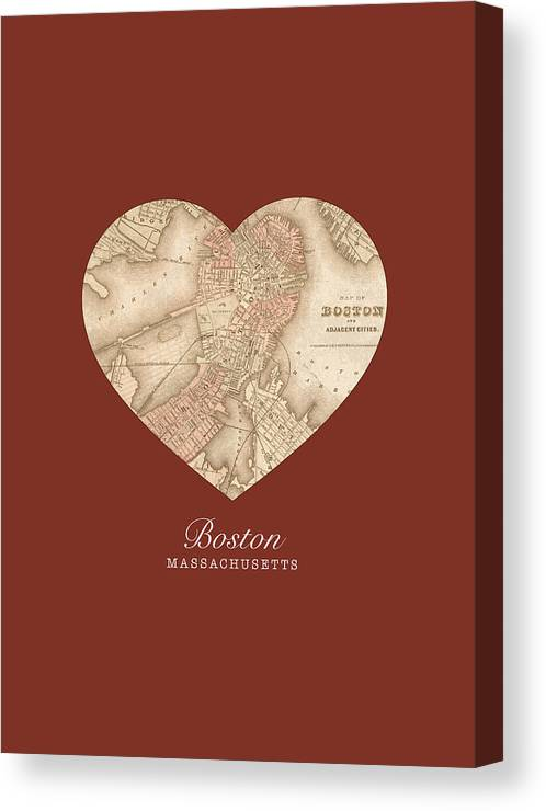 I Canvas Print featuring the mixed media I Heart Boston Massachusetts Vintage City Street Map Americana Series No 011 by Design Turnpike