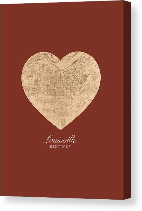 I Canvas Print featuring the mixed media I Heart Louisville Kentucky Vintage City Street Map Americana Series No 007 by Design Turnpike