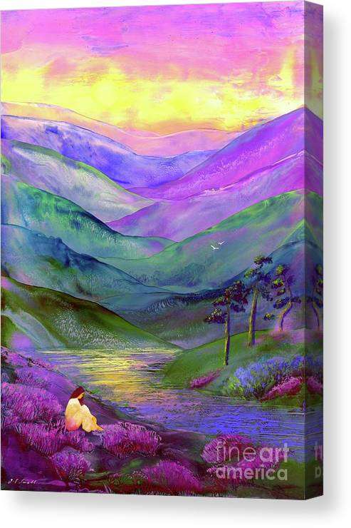 Meditation Canvas Print featuring the painting Inner Flame, Meditation by Jane Small