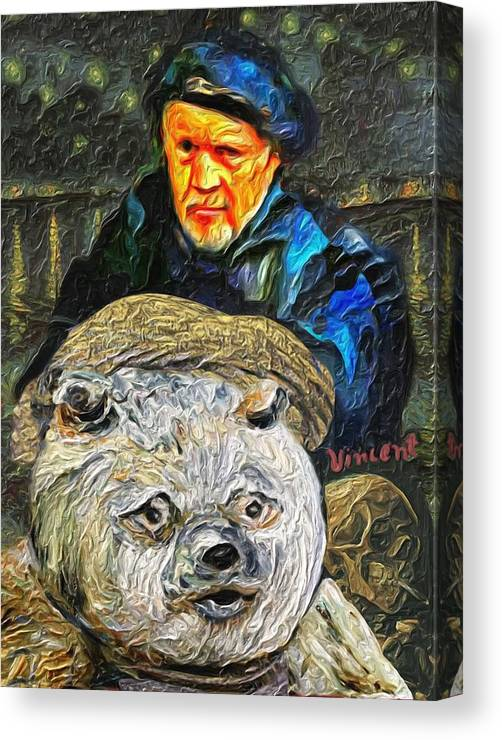 Gretchenart Canvas Print featuring the painting Kaptain Van Janned And His Trusty Bear Vincent by GretchenArt FineArt