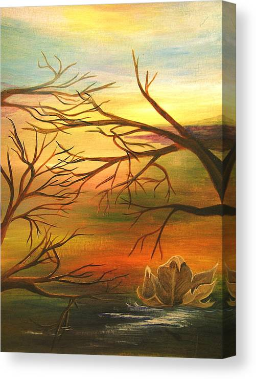 Landscape Canvas Print featuring the painting Last Leaf Of Fall by Vi Mosley