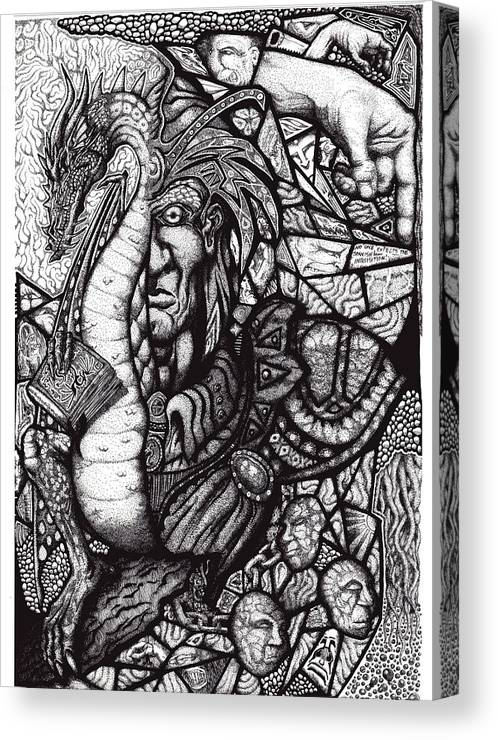 Pen And Ink Canvas Print featuring the drawing Legend by Tobey Anderson