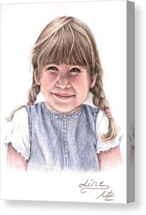 Girl Canvas Print featuring the drawing Little Girl by Nicole Zeug
