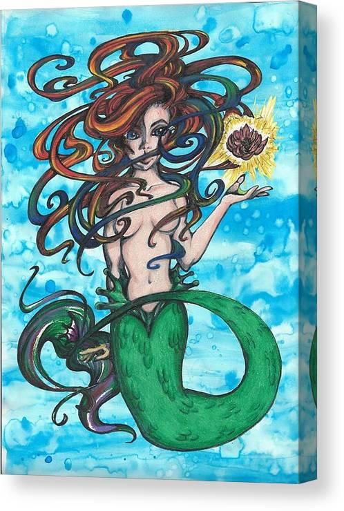 Little Mermaid Canvas Print featuring the painting Little Mermaid by Meggan Shepard