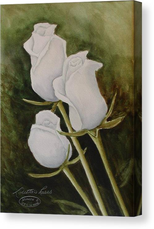 White Roses Original Watercolour Floral Canvas Print featuring the painting Lorettas Roses by Sharon Steinhaus