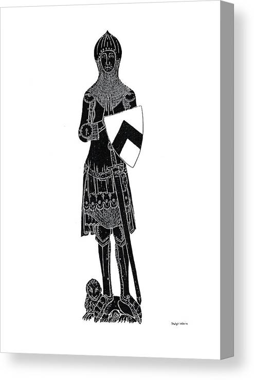 Brass Rubbing Canvas Print featuring the drawing Medieval Knight Brass Rubbing by Shelagh Watkins
