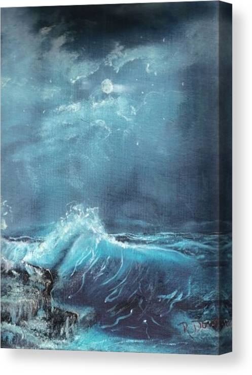 Water Sea Moon Surf Seascape Moonlight Lake Ocean Canvas Print featuring the painting Moonlight Surf by Raymond Doward