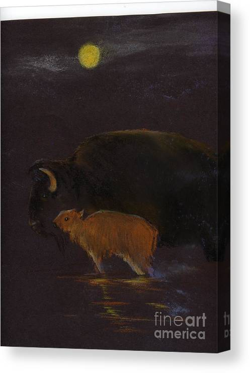 A Mother Bison And Calf Crossing The River Under Moon Light. This Is An Oil Pastel Painting. Canvas Print featuring the painting Mother Bison And Calf by Mui-Joo Wee