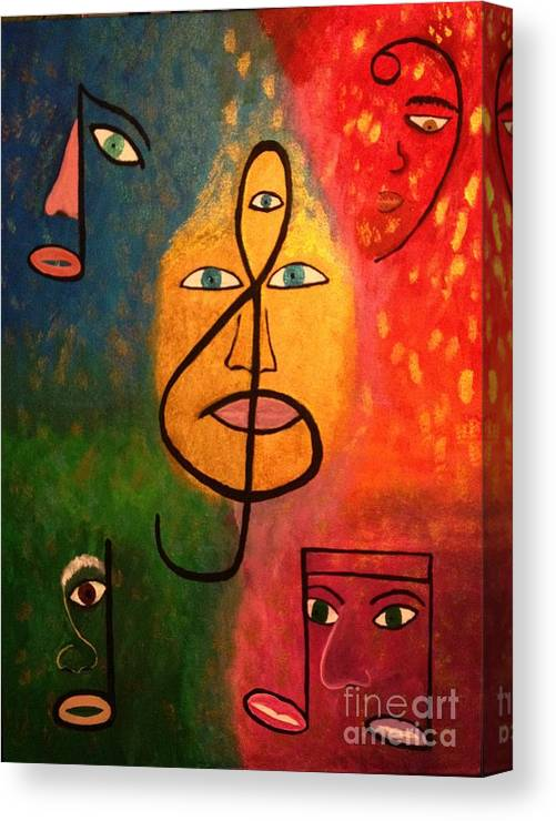 Music Canvas Print featuring the painting Mystical Notes by Wanda Pedrosa