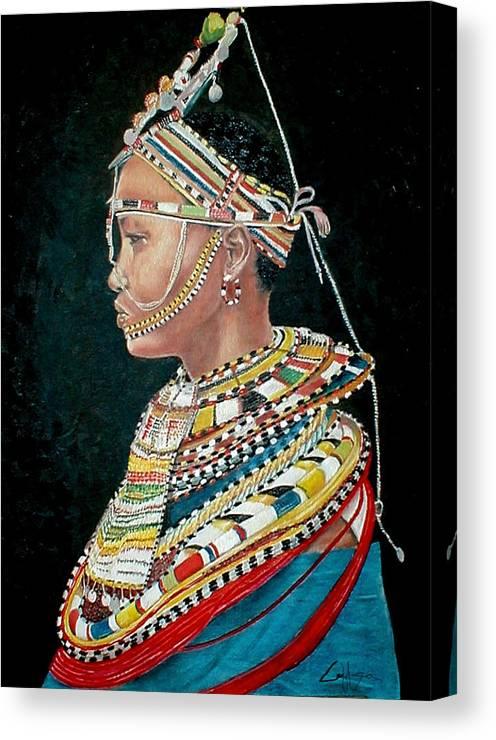 Maasai Canvas Print featuring the painting Nanu by G Cuffia
