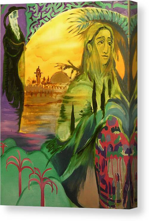 Surrealist Canvas Print featuring the painting On The Way To Jerusalem by Zsuzsa Sedah Mathe