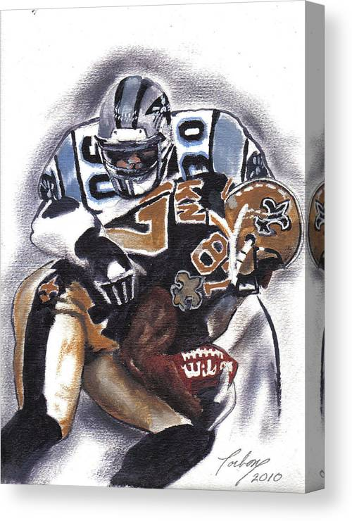 Oil Paintings Canvas Print featuring the painting Panthers Vs Saints by Torben Gray