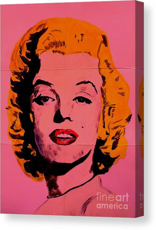 Marilyn Monroe Canvas Print featuring the painting Pink Folded Marilyn by Ralph LeCompte