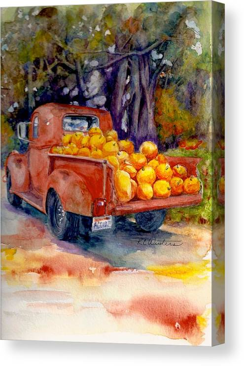 Pacific North West Canvas Print featuring the painting Pumpkin Truck by KC Winters