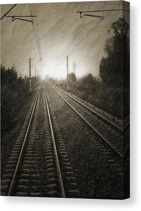Train Canvas Print featuring the photograph Rails by Angela Wright