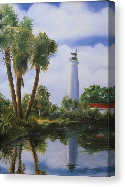 Saint Marks Lighthouse Canvas Print featuring the painting Saint Marks Lighthouse Florida by Jim Horton